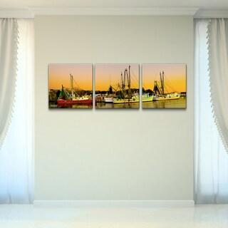 Bruce Bain 'Harbor' 3-piece Canvas Wall Art