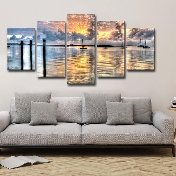 Bruce Bain 'Calm Waters' 5-piece Canvas Wall Art