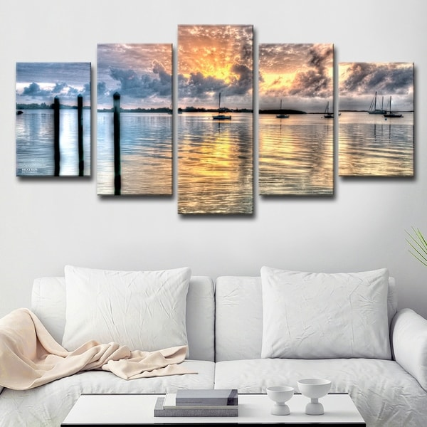 192334a31b3c2 Shop 'Calm Waters' 5-piece Canvas Wall Art Set - On Sale - Free ...