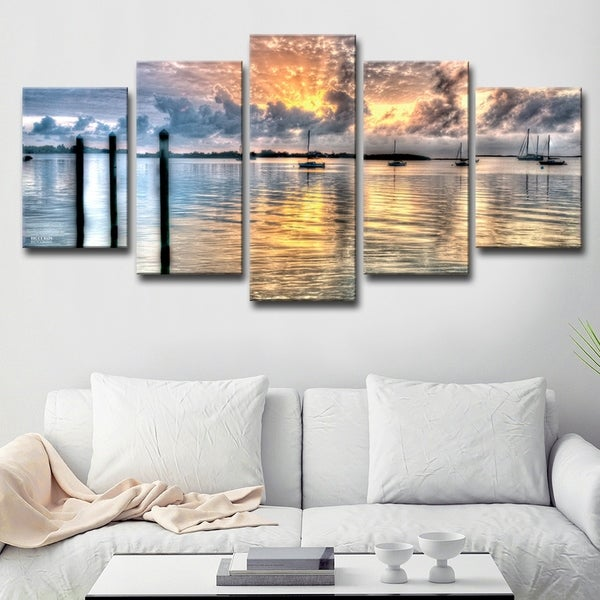 'Calm Waters' 5-piece Canvas Wall Art Set - Multi-color
