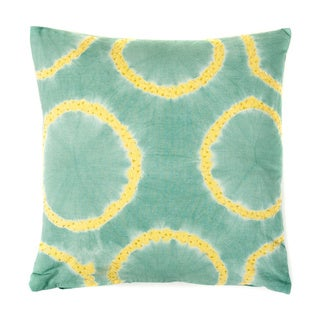 Tie Dye Rings Green and Blue Beaded Decorative Throw Pillow