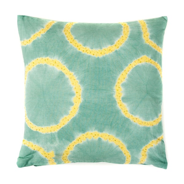 Handmade Tie Dye Rings Green and Blue Beaded Decorative Pillow