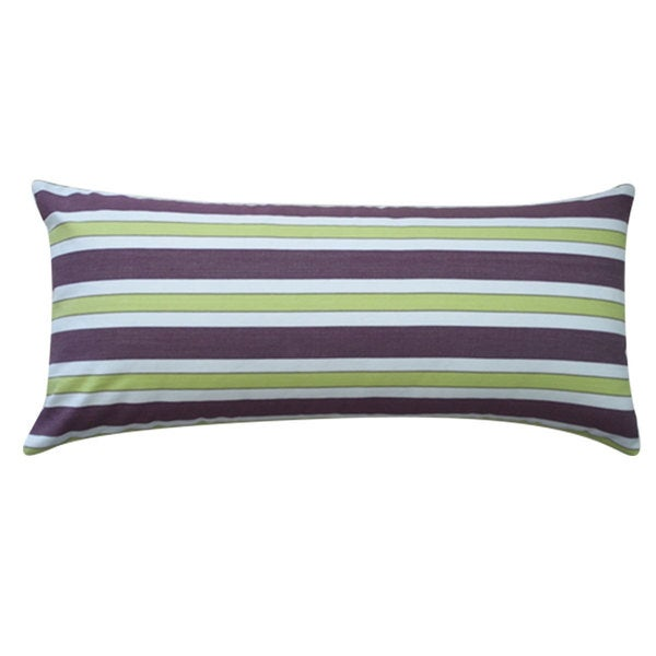 "Handmade Funstripe Purple Decorative Throw Pillow - 12"" x 26"""
