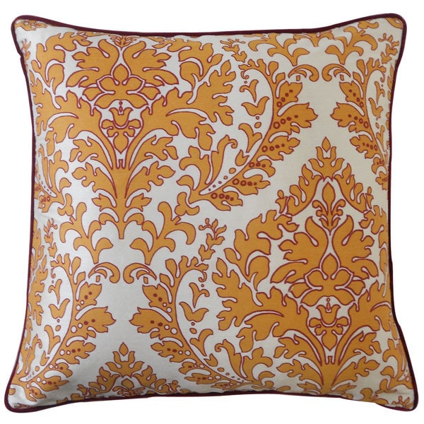 "Handmade Turkish Leaves Red Decorative Pillow - 20"" x 20"""