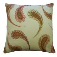 20 x 20-inch Peacock Cream Decorative Throw Pillow