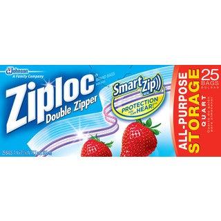 Ziplock Quart Plastic Storage Bags with Double Zipper (12 pack)