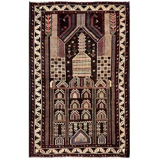 Herat Oriental Semi-antique Afghan Hand-knotted Tribal Balouchi Ivory/ Black Wool Rug (2'10 x 4'3)