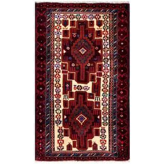 Herat Oriental Semi-antique Afghan Hand-knotted Tribal Balouchi Ivory/ Burgundy Wool Rug (2'9 x 4'9)