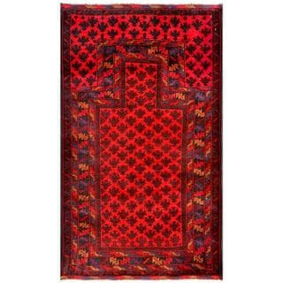 Herat Oriental Semi-antique Afghan Hand-knotted Tribal Balouchi Red/ Burgundy Wool Rug (2'8 x 4'6)