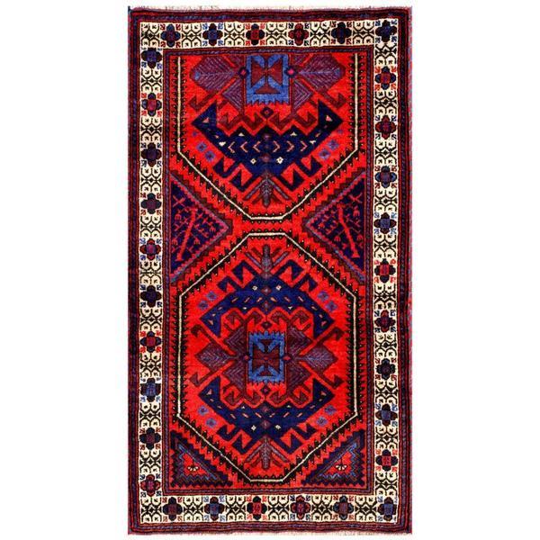 Handmade Herat Oriental Afghan 1960s Semi-antique Tribal Balouchi Wool Rug (Afghanistan) - 2'6 x 4'7