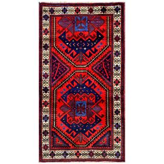 Herat Oriental Afghan Hand-knotted 1960s Semi-antique Tribal Balouchi Wool Rug (2'6 x 4'7)