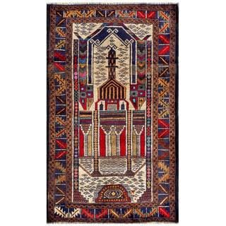 Herat Oriental Semi-antique Afghan Hand-knotted Tribal Balouchi Ivory/ Navy Wool Rug (2'7 x 4'6)