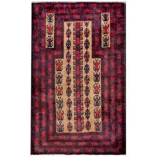 Herat Oriental Semi-antique Afghan Hand-knotted Tribal Balouchi Beige/ Red Wool Rug (2'8 x 4'7)