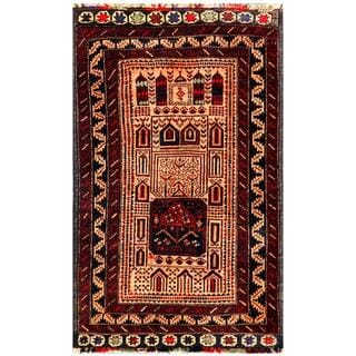Herat Oriental Semi-antique Afghan Hand-knotted Tribal Balouchi Peach/ Burgundy Wool Rug (2'6 x 4'2)