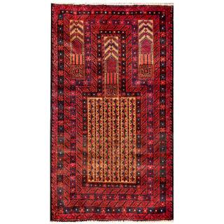 Herat Oriental Semi-antique Afghan Hand-knotted Tribal Balouchi Beige/ Red Wool Rug (2'8 x 4'8)