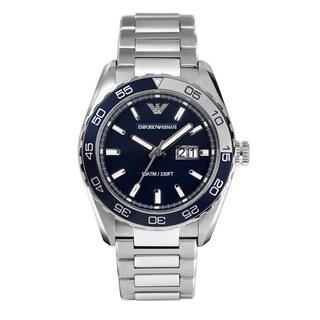 Emporio Armani Men's AR6048 'Sportivo' Silver Stainless Steel Watch - BLue