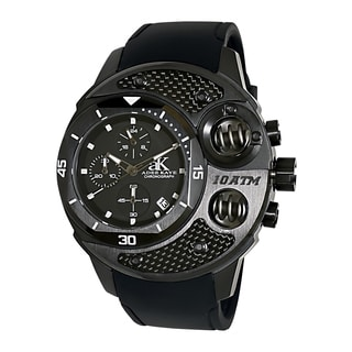 Adee Kaye Men's 'Commando' Black Chronograph Watch