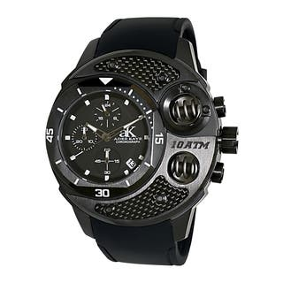 Adee Kaye Men's 'Commando' Black Chronograph Watch|https://ak1.ostkcdn.com/images/products/9134288/Adee-Kaye-Mens-Commando-Black-Chronograph-Watch-P16316698.jpg?impolicy=medium