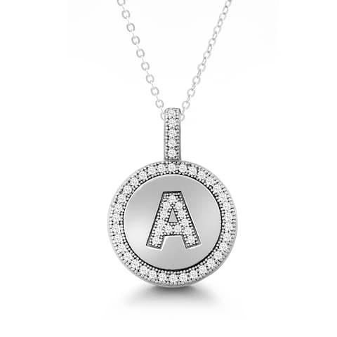 La Preciosa Sterling Silver or Gold Plated Micro Pave Cubic Zirconia Initial Circle Pendant Necklace