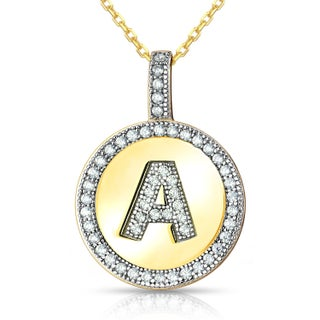 La Preciosa Sterling Silver or Gold Plated Micro Pave Cubic Zirconia Initial Circle Pendant Necklace (More options available)