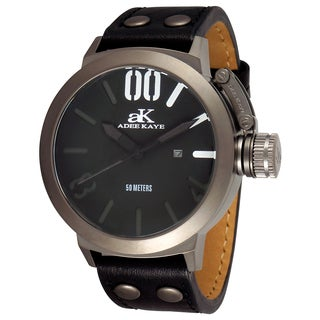 Adee Kaye Men's 'Mondo' Black Leather Watch