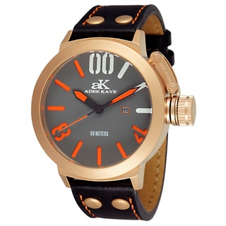 Adee Kaye Men's 'Mondo' Black/ Orange Watch