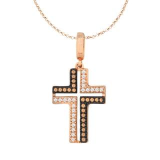 La Preciosa Sterling Silver Rose and Black Plated Micro Pave Cubic Zirconia Cross Pendant Necklace