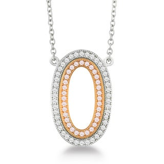 La Preciosa Sterling Silver and Rose-plated Micro-pave Cubic Zirconia Oval Necklace