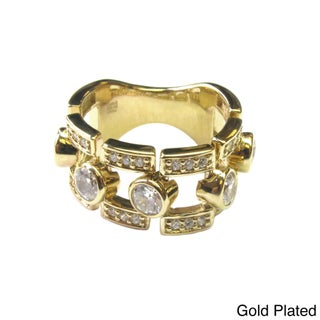 Sonia Bitton Yellow Gold or Platinum Plated Sterling Silver Bezel-set Ring (4 options available)