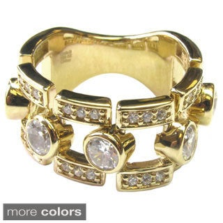 Sonia Bitton Yellow Gold or Platinum Plated Sterling Silver Bezel-set Ring