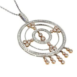 Sonia Bitton 18k Rose and White Gold 3ct TDW Diamond Medallion Pendant Necklace (G-H, SI1-SI2)