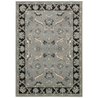 LNR Home Adana Grey/ Black Floral Runner Rug (1'9 x 6'9)