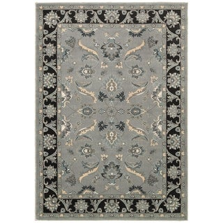 LNR Home Adana Grey/ Black Floral Rug (7'9 x 9'9)