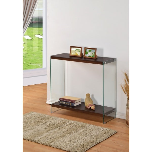 Cappuccino Tempered Glass Console Free Shipping Today