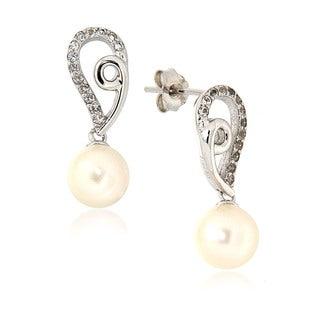 White Freshwater Pearl White Topaz Drop Earrings for Women