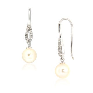 White Freshwater Pearl and White Topaz Drop Earrings for Women