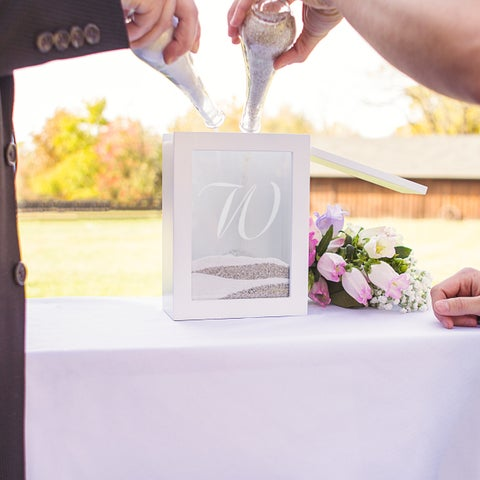 Personalized White Unity Sand Ceremony Shadow Box Set