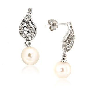 Pearlz Ocean White Freshwater Pearl and White Topaz Dangle Hook Earrings (7-8 mm)