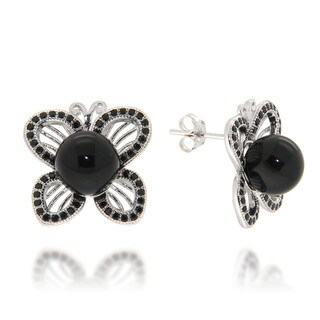 Pearlz Ocean Black Onyx and Black Spinel Butterfly Stud Earrings Jewelry for Womens