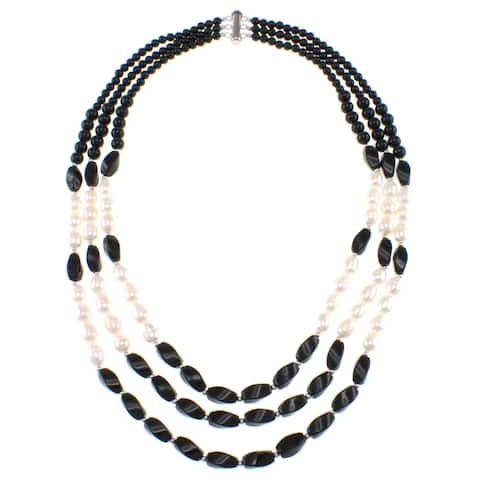 Pearlz Ocean Black Agate and Freshwater Pearl Triple Strand Necklace with Sterling Silver Clasp (7-9 mm) Jewelry for Womens