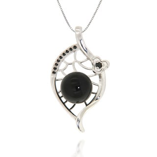 Pearlz Ocean Black Onyx and Black Spinel Sterling Silver Polished Pendant Necklace