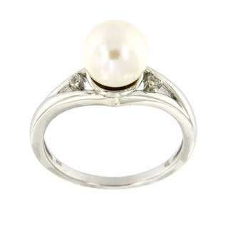 Sterling Silver White Freshwater Pearl and White Topaz Accent Ring (7.5 mm) Jewelry for Womens