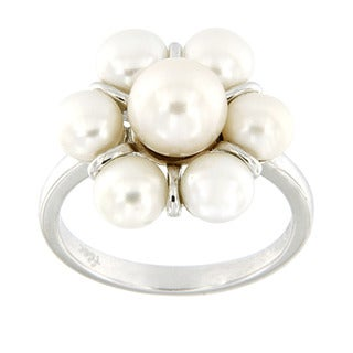 Sterling Silver White Freshwater Pearl Flower Cluster Ring (7-8 mm)