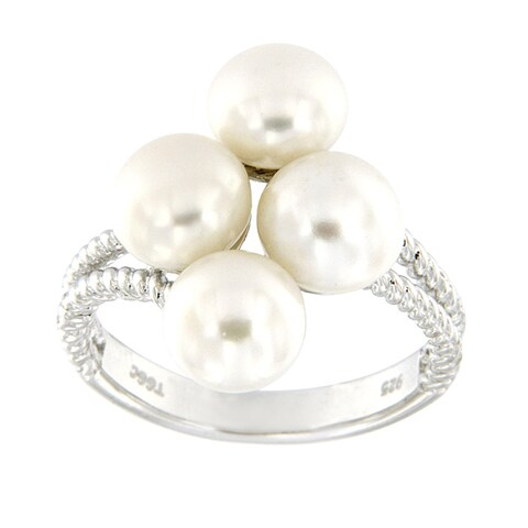 Sterling Silver White Freshwater Pearl Band Cluster Ring for Women