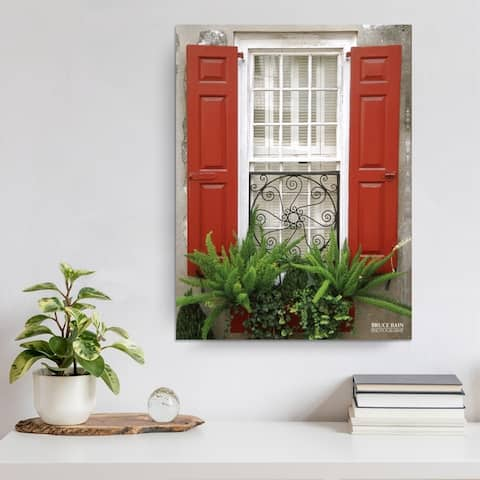 Red Shutters' Photographic Wrapped Canvas Wall Art