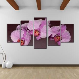 Bruce Bain 'Purple Orchid' Canvas Wall Art (5-piece Set)