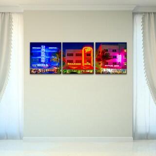 Bruce Bain 'Miami Hotel Strip' 3-piece Canvas Wall Art