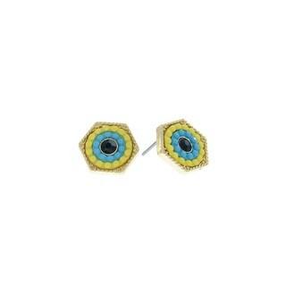 Pretty Little Style Goldtone Yellow Hexagon Stud Earrings