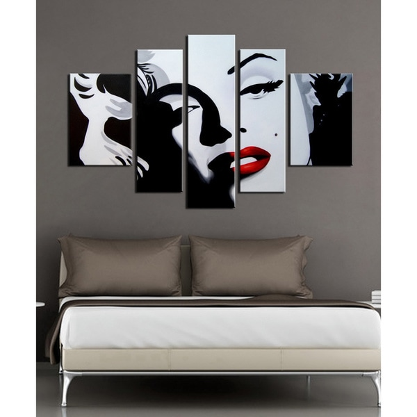 hand painted 39 marilyn monroe 39 5 piece gallery wrapped canvas art set free shipping today. Black Bedroom Furniture Sets. Home Design Ideas