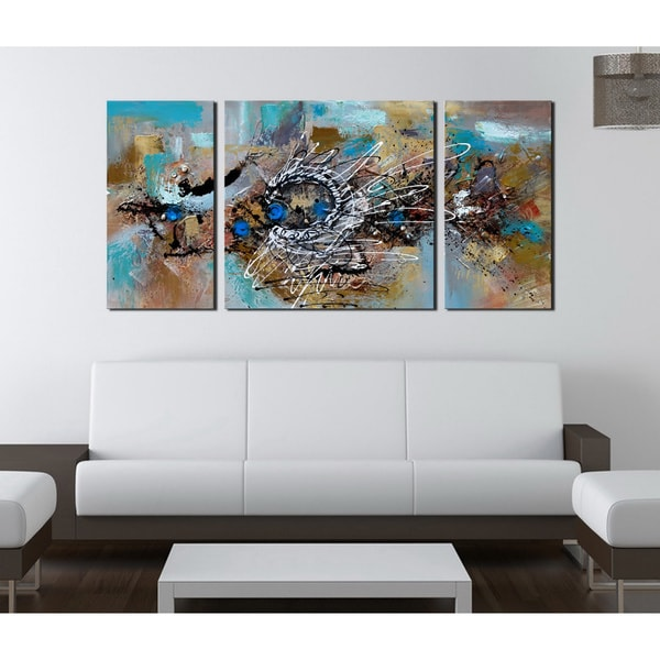 Hand painted 39 abstract 491 39 3 piece gallery wrapped canvas for Set of three canvas paintings